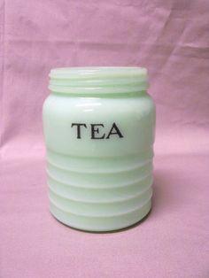 Vintage Jeannette Depression Glass Jadite/Jadeite TEA Canister