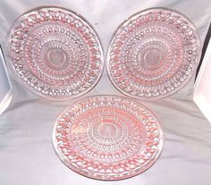 """Set of 3 Jeannette Glass Holiday Buttons & Bows Pink Depression Glass 9"""" Plates"""