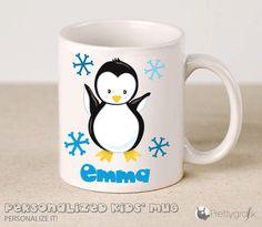Custom penguin Mug personalized ceramic Mug by PrettygrafikGifts #custommug #kidsmug #penguinmug