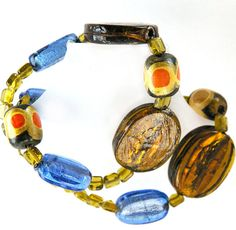 Chunky  Necklace Bright colours Hand painted and glass by LorikArt, $32.00Now $28