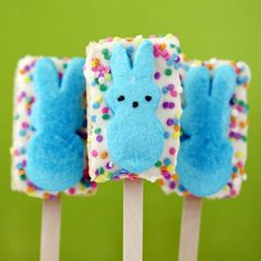 I love rice krispies treats as well as peeps - put them together & it's a match made in heaven.  Perfect & adult friendly Easter treat!