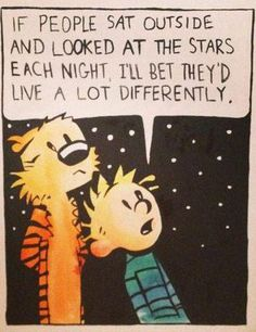 "A little wisdom from Calvin + Hobbes ""If people sat outside and looked at the stars each night, I'll bet they'd live a lot differently."""