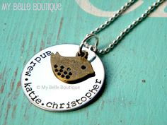 Stamped Mama Bird Necklace