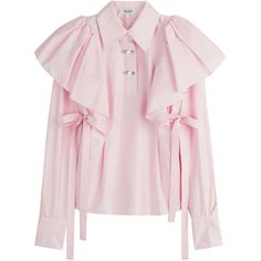 Kenzo Cotton Shirt ($609) ❤ liked on Polyvore featuring tops, blouses, shirts, magenta, cotton shirts, button front top, over sized shirts, oversized tops and pink oversized shirt