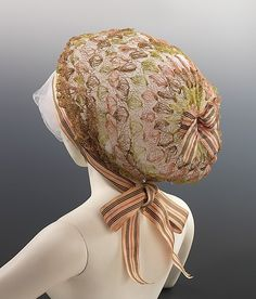 C. 1780-1795. The spectacular size references the modes of the InCROYABLES & MerveiLLEUSES, men and women who donned exaggerated styles during the years after the French Revolution. Although this snood is English, it demonstrates how closely English fashion followed French styles.