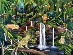 Tropical Birds, Fountain, Outdoor Decor, Plants, Painting, Art, Image, Tropical Art, Art Background