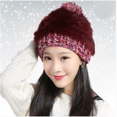 womens rabbit fur beanie hat hairball knit hat for winter