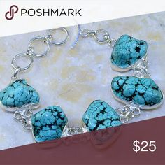 Beautiful Genuine Turquoise Bracelet This is a beautiful Genuine Turquoise 925 Sterling silver bracelet. I have the necklace that matches up for sale as well. Brand new and handcrafted. Jewelry Bracelets