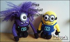 "Minion and Evil Minion  - Free Amigurumi Pattern - PDF File - Click ""download"" or ""free Ravelry download"" here:  http://www.ravelry.com/patterns/library/minion-and-evil-minion"