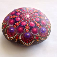 SOLD Reserved for Mak Hand-painted Dot Mandala Stone by HFXrocks