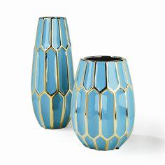 S/2 Turquoise Vases Edge Vase - Ceramic © Two's Company