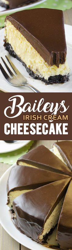 festive Bailey's Irish Cream Cheesecake on St. Patrick's Day or for any fe Serve festive Bailey's Irish Cream Cheesecake on St. Patrick's Day or for any fe. Serve festive Bailey's Irish Cream Cheesecake on St. Patrick's Day or for any fe. Just Desserts, Delicious Desserts, Yummy Food, Fall Desserts, Cheesecake Recipes, Dessert Recipes, Baileys Cheesecake, Baileys Cake, Cheesecake Cake