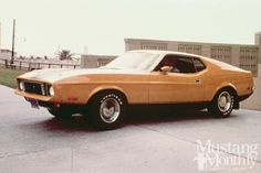 Eleanor was pristine for only one scene at the beginning of the chase, which was shot on the first day of filming. Halicki added the hood stripes and Mach 1–like rocker panel black-out. Notice the two sets of parking lights in both the front valance ('71-'72) and grille ('73).  Read more: http://www.hotrod.com/features/history/historic-cars/1305-gone-in-60-seconds/#ixzz3UmAP7DAP  Follow us: @HotRodMagazine on Twitter   HotRodMag on Facebook