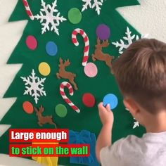 Why choose our DIY Christmas Tree? HIGH QUALITY— Made of high quality felt fabric, not harmful for kids and no bad smells will be the perfect gift for your little toddler for Christmas. UPGRADED DESIGN — Stitch together by needlework, better much than glue stick from other sellers, hook and loop won't fell off and ornaments wouldn't easily be pulled apart by a toddler.No need to drill holes into the wall for hanging. You can also reuse it next year.