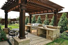Cooking outdoors at Outdoor Kitchen brings a different sensation. We can use our patio / backyard space to build outdoor kitchen. Outdoor kitchen u. Backyard Kitchen, Outdoor Kitchen Design, Backyard Bbq, Summer Kitchen, Outdoor Kitchens, Backyard Seating, Backyard Layout, Outdoor Cooking, Tropical Backyard