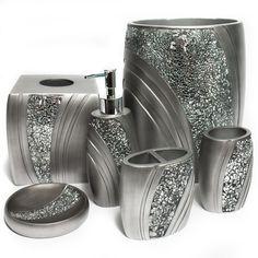 Silver glitter bath ensemble set metallic bathroom accessories