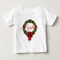 Vintage/Retro Christmas Wreath Personnalised Baby T-Shirt - toddler youngster infant child kid gift idea design diy