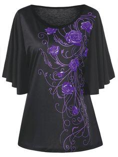 Plus Size Tiny Floral Drape Sleeve T-shirt - PURPLE 3XL