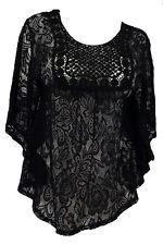 Plus Size Sheer Crochet Floral Lace Poncho Top Black