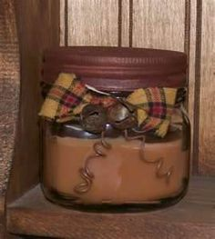 easy to make prim jar candle...dollar store candle. Paint lid, add decor.