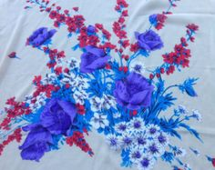 Vintage Tan floral shawl, Red white print, Holiday gifts, Russian scarf, 36X36 Oversize scarf, Gift for Coworker, Purple Floral Shawl by blingscarves. Explore more products on http://blingscarves.etsy.com