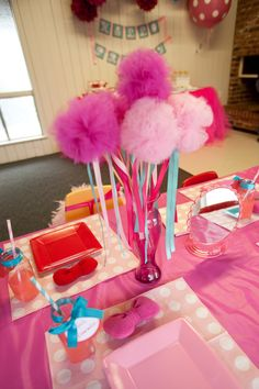 Spa Party Scrubby Centerpieces. Cute for a little girls birthday party.