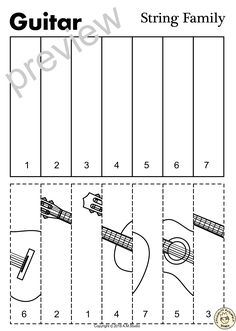 This resource contains three set of activities (coloring pages and puzzles) to help your students recognize and learn names of String family instruments. Instruments included: Violin Viola Cello Double bass Harp Guitar Lute Mandolin Banjo and Zither. Preschool Music Activities, Music Lessons For Kids, Hippie Crochet, Music Worksheets, Elementary Music, Music Classroom, Teaching Music, Music Education, Coloring Pages