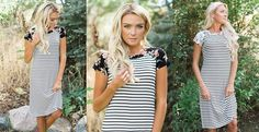 Stripes and Floral! The perfect fall combo! Get this darling dress for only $24.99!