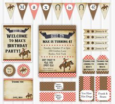 Vintage Cowboy Birthday Party Set INSTANT by YourPrettyParty, $24.00