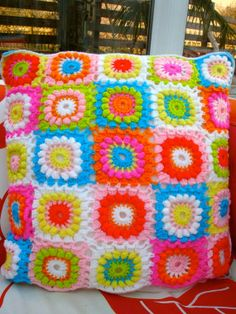 Crochet Cushion Pillow Granny Square by LillyBev on Etsy, £30.00