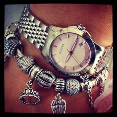 Gucci watch + Pandora bracelet<3