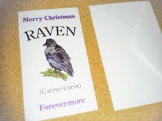 Raven Merry Christmas Forevermore 25 Gift Tags 3.5x2 in, White, Purple, Black #JsDesigns #Christmas