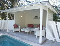 Having a pool sounds awesome especially if you are working with the best backyard pool landscaping ideas there is. How you design a proper backyard with a pool matters. Pool House Shed, Pool Houses, Pool Gazebo, Backyard Cabin, Pool Shade, Simple Pool, Pool Cabana, Dream Pools, Pool Landscaping