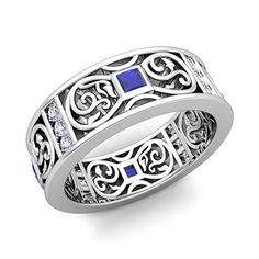Princess Cut Celtic Knot Sapphire Wedding Band Ring in 14k Gold, 7.5mm. This stunning Celtic wedding band features Celtic knots interspersed with bezel set princess cut sapphire and sparkling round cut diamonds in 14k gold band.