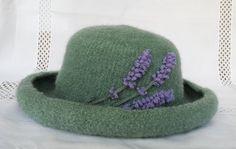 Hand Knit Wool & Mohair Felt Hat in Sage w/ by FeltedFlora on Etsy, $145.00