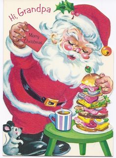 Vintage Unused Child's Christmas Greeting Card for Grandpa - Santa Vintage Christmas Images, Retro Christmas, Christmas Love, Christmas Pictures, Father Christmas, Christmas Glitter, Christmas Things, Vintage Greeting Cards, Christmas Greeting Cards