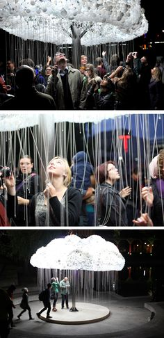 Cloud ~ by Caitlind Brown Installation Interactive, Light Art Installation, Interactive Exhibition, Interactive Walls, Artistic Installation, Interactive Design, Interactive Projection, Exposition Interactive, Instalation Art