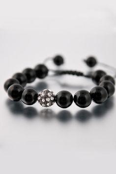 DYOH Black Gloss Bead Bracelet - Click image for JackThreads