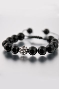 DYOH Black Gloss Bead Bracelet - Click image for JackThreads