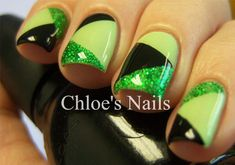 St. Patrick's Day nails- Green patchwork nail design using tape