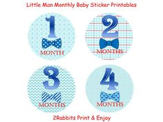 Little Man Themed Baby Shower #DIY #Printable #Monthly #Onesie #Stickers by 2RabbitsPrintEnjoy