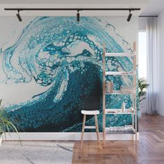 Ocean Wave Acrylic Pour Wall Mural by Craftyjenn - X Ocean Mural, Beach Mural, Surf Room, Beach Room, Wall Painting Decor, Mural Wall Art, Ceiling Murals, Bedroom Murals, Bedroom Themes