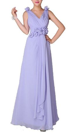 Passion Low V-neck Floral Shoulders Long Bridesmaid Dresses (US 20)
