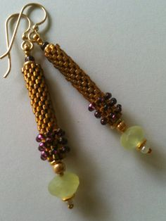 Long tube earrings by Jeka Lambert.  Seed bead woven.  24K gold plated seed beads, Phrenite, vintage and new seed beads, metal heishi disks.