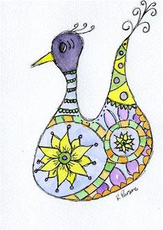 """Feelin Fancy"" - Original Fine Art for Sale - Watercolor and Ink - © Kali Parsons - http://kaliparsons.blogspot.com"