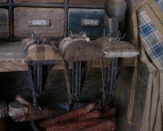 Sweet Liberty Homestead brown homespun pin cushion sewing clamp.