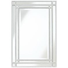 "Ravalli Silver Beaded 23""x34 1/4"" Beveled Wall Mirror"