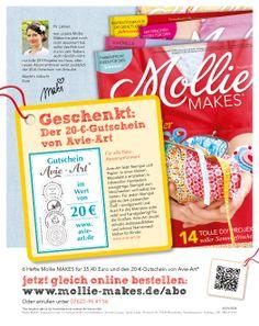 Abowerbung für die Zeitschrift Mollie Makes 09/14 - Werbemittel: 1/1-Abo-Anzeige, Heftwerbung, Angebot: Jahresabo mit Gutschein-Prämie, Response-Aktivierung über Deeplink und QR-Code I © Montana Medien, Hamburg - April 2014 I Bestellen Sie #Mollie Makes unter www.mollie-makes/Abo #Direktmarketing, #Print, #Verlage, #CRM, #Dialogmarketing, #Abomarketing, #Abowerbung, #Aboanzeige, #Abonnement, #OZ-Verlag, #MontanaMedien