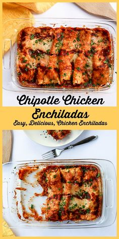 Shredded chicken, green chilies and cheese make these easy enchiladas delicious.