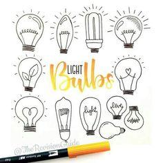 Light bulbs as filler doodles. Week 23 of the 52 week visual vocabulary challenge is all about filler doodles. That's any kind of doodle… Doodle Drawings, Doodle Art, How To Doodle, Doodles How To, Doodle Images, Easy Doodles, Doodle Quotes, Bujo Doodles, Note Doodles